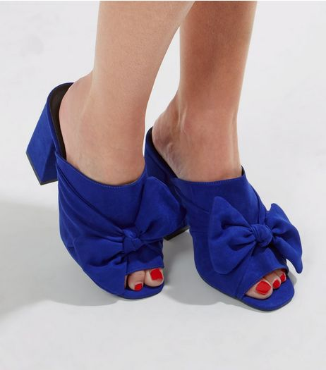 Wide Fit Blue Suedette Bow Front Heeled Mules | New Look