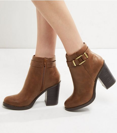 Tan Buckle Strap Block Heel Ankle Boots | New Look