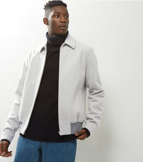 Pale Grey Wool Mix Harrington Jacket  | New Look