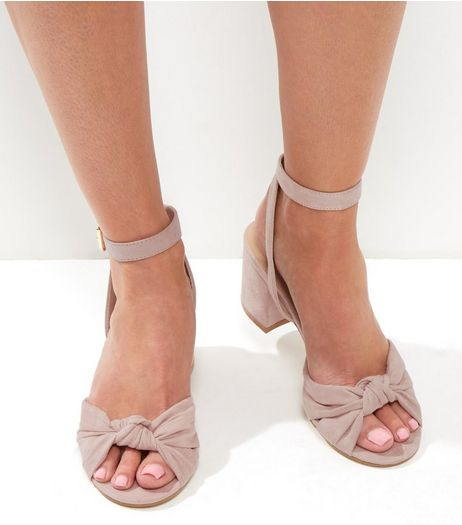 Cream Suedette Knot Front Block Heels | New Look