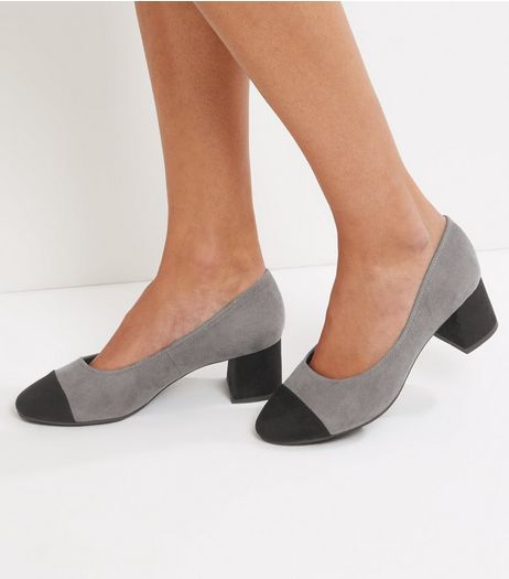 Wide Fit Grey Suedette Contrast Toe Cap Court Shoes | New Look