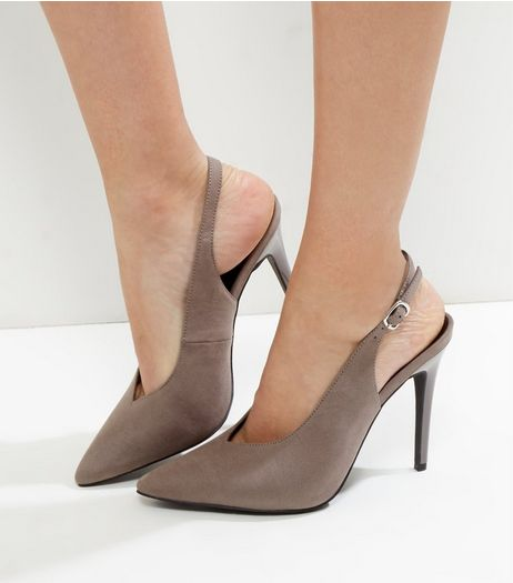 Grey Suedette V Throat Toe Pointed Sling Back Heels | New Look