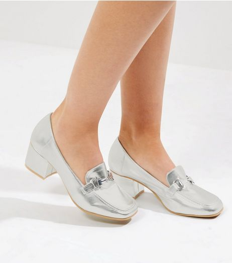 Silver Metallic Heeled Loafers | New Look
