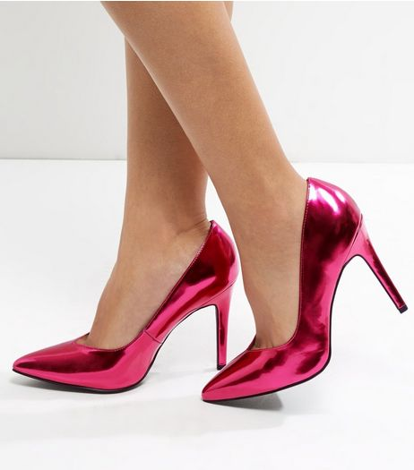 Wide Fit Bright Pink Metallic V Throat Toe Court Shoes  | New Look