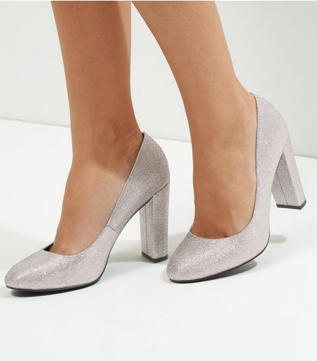 Wide Fit Silver Glitter Block Heel Court Shoes | New Look