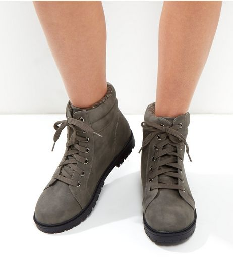 Wide Fit Grey Lace Up Boots | New Look