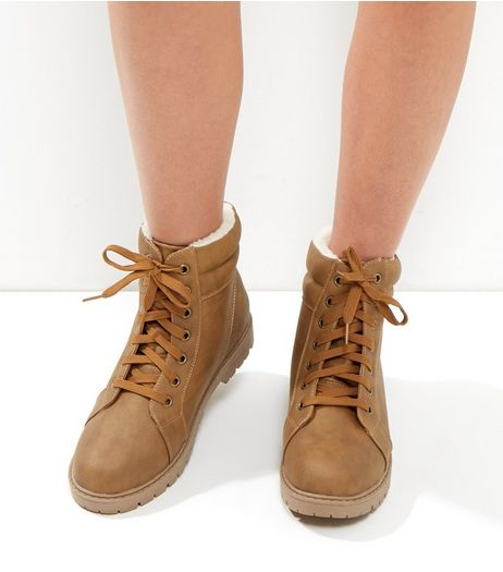 Wide Fit Tan Lace Up Boots | New Look