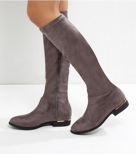Wide Fit Grey Suedette Metal Trim Knee High Boots | New Look