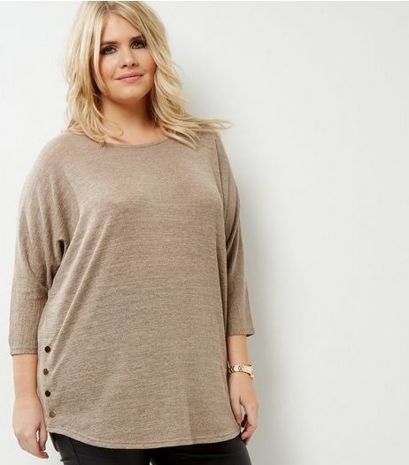 Curves Cream Popper Side Top | New Look