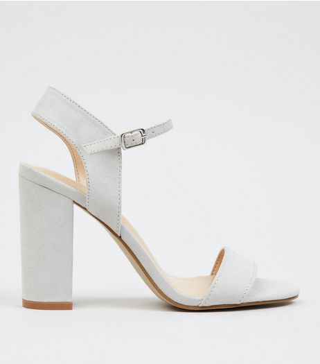 Grey Suedette Block Heel Ankle Strap Sandals | New Look
