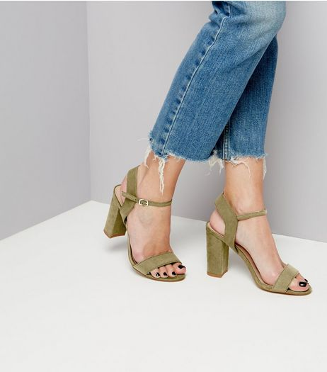 Khaki Suedette Block Heel Ankle Strap Sandals | New Look
