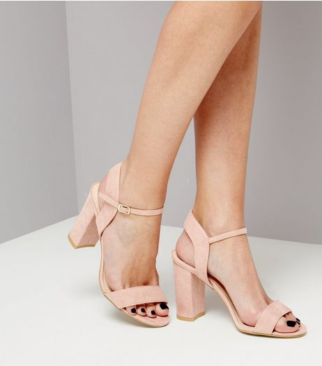 Pink Suedette Block Heel Ankle Strap Sandals | New Look