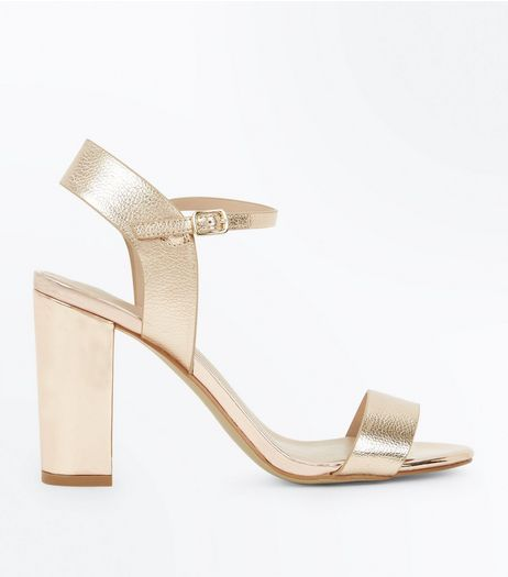 Gold Leather Look Ankle Strap Heeled Sandals | New Look