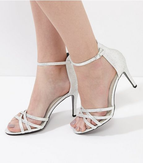 Silver Glitter Strappy Heeled Sandals | New Look