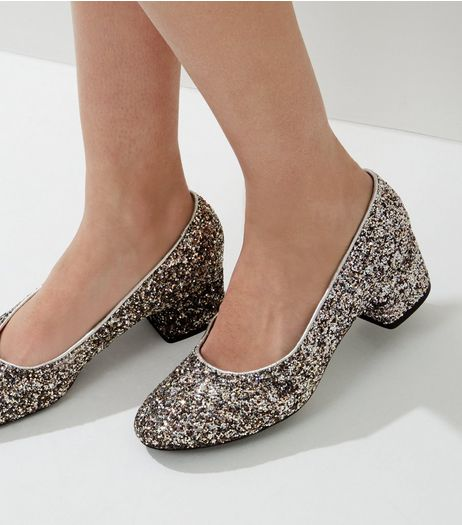 Silver Glitter Block Heel Court Shoes | New Look