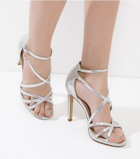 Silver Multi-Strap Heels  | New Look