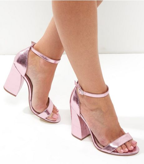 Pink Metallic Flared Block Heels | New Look