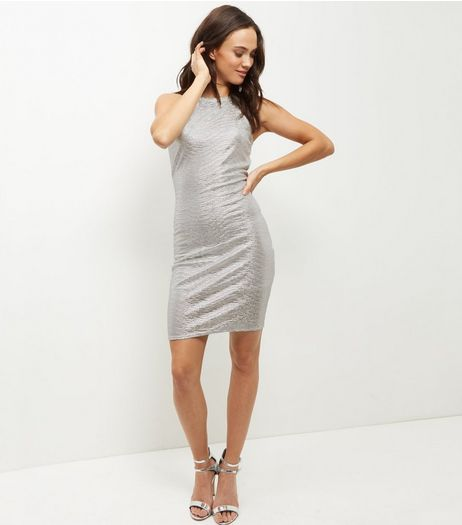 Cameo Rose Silver Metallic Bodycon Dress  | New Look