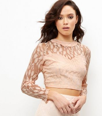 Shell Pink Lace Funnel Neck Crop Top