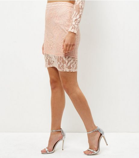 Shell Pink Lace Pencil Skirt | New Look