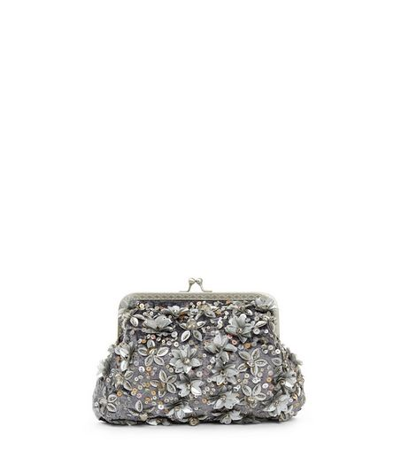 Grey Embeliished Crushed Velvet Purse | New Look