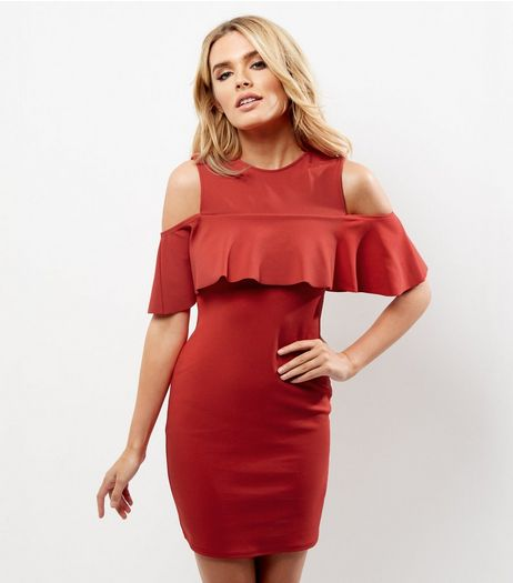 Red Cold Shoulder Ruffle Trim Bodycon Dress | New Look
