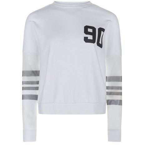 Teens White Mesh Stripe Sleeve 90 Jumper | New Look