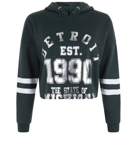 Teens Dark Green 1990 Foil Print Baseball Hoodie  | New Look