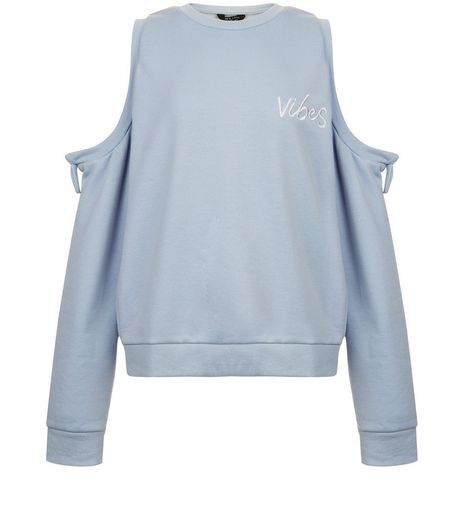 Teens Blue Vibes Tie Up Cold Shoulder Sweater | New Look
