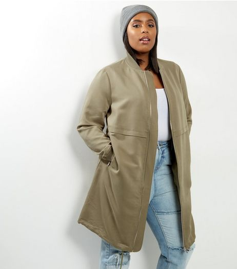 Curves Khaki Longline Drawstring Hem Bomber Jacket | New Look