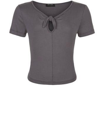 Teens Dark Grey Bow Front T-shirt