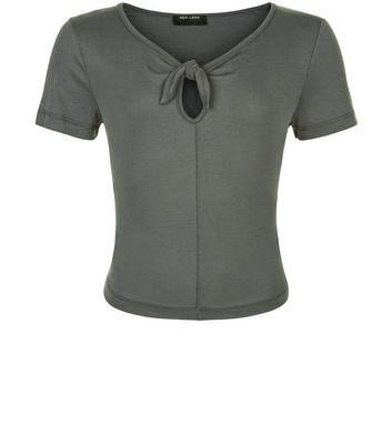 Teens Khaki Bow Front T-shirt