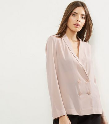 Shell Pink Crepe Button Front Blazer | New Look