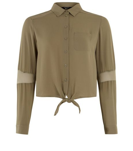 Teens Khaki Mesh Panel Tie Front Shirt | New Look