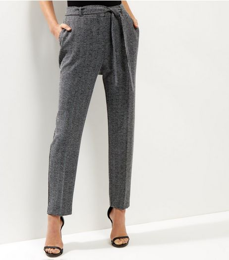 Grey Herringbone Tie Waist Trousers | New Look
