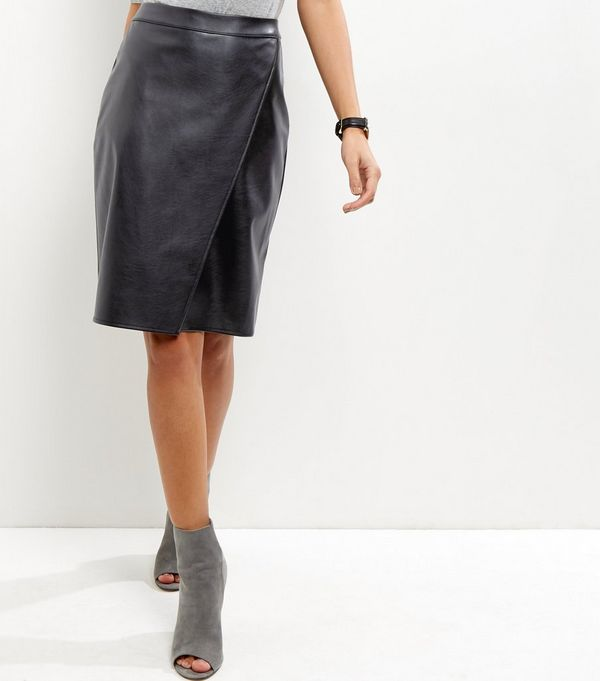 Black Leather-Look Wrap Front Midi Skirt