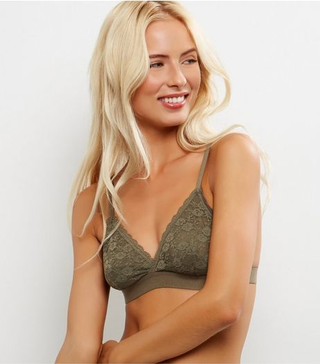 Khaki Lace Bralet | New Look