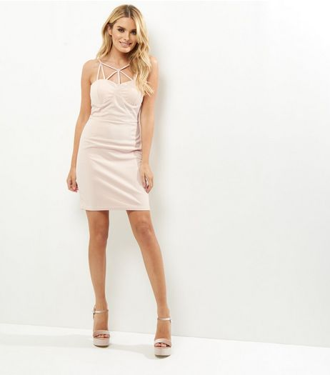 Shell Pink Strappy Bodycon Dress | New Look