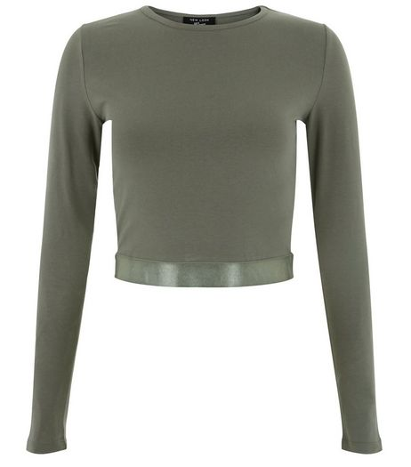 Teens Khaki Sateen Hem Crop Top | New Look