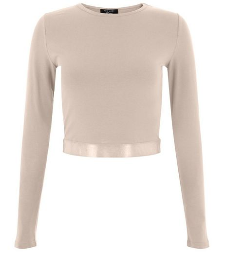 Teens Shell Pink Sateen Hem Crop Top | New Look