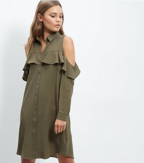Cameo Rose Khaki Cold Shoulder Shirt Dress | New Look