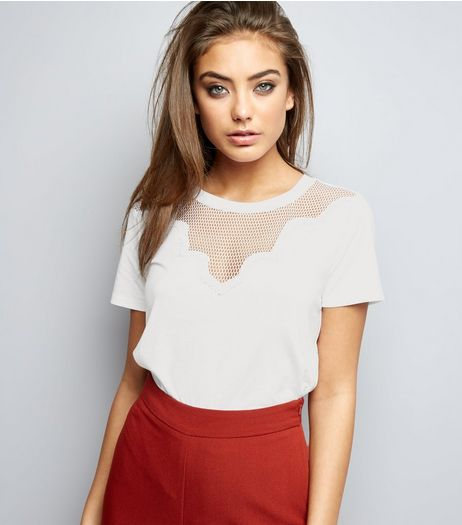 White Mesh Panel Yoke T-Shirt  | New Look