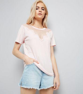 Pink Mesh Panel Short Sleeve T-Shirt