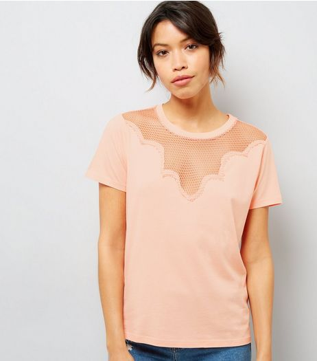 Orange Mesh Panel Short Sleeve T-Shirt | New Look