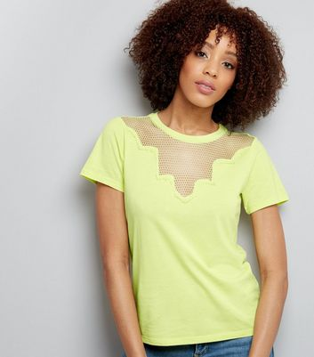 Yellow Mesh Panel Short Sleeve T-Shirt