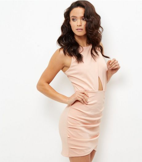 Shell Pink Cut Out Wrap Front Bodycon Dress | New Look