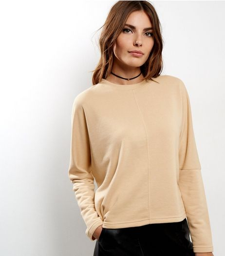 Cream Batwing Sleeve Cropped Sweater  | New Look