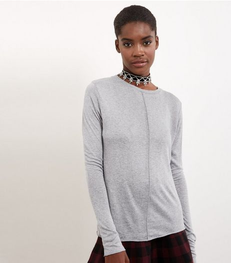 Grey Seam Detail Long Sleeve T-shirt | New Look