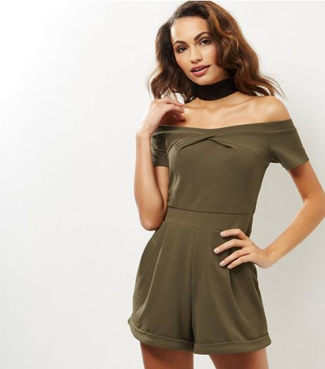 Khaki Twist Front Bardot Neck Playsuit  | New Look