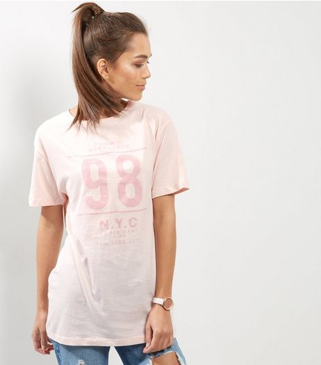 Shell Pink 98 Print Boyfriend T-Shirt  | New Look